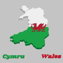 3d Map Outline And Flag Of Wal...