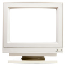Old CRT Computer Monitor With Cutout Screen Isolated On White