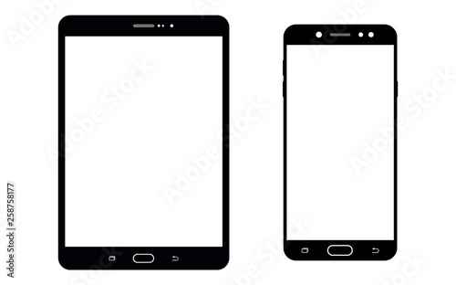 Obraz Black tablet or notepad and smartphone set with blank white screen. Smartphone and tablet or notepad set. Smartphone and tablet front view, vector. - fototapety do salonu