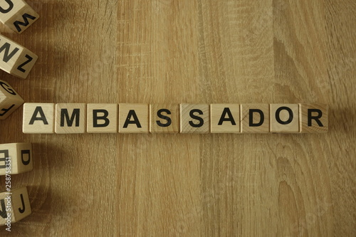 Valokuva  Ambassador word from wooden blocks on desk