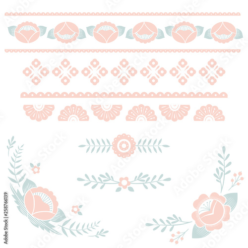 Stylized pattern, folk art, floral ornament in pink and blue colors Fototapeta