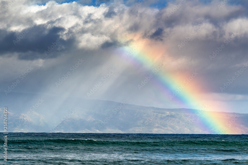 Fototapety, obrazy: Rainbow over the island of Molokai