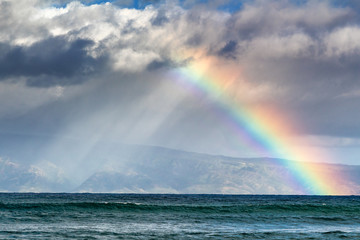 Rainbow over the island of Molokai
