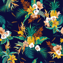 Colorful Retro Dark Tropical Forest Exotic Flowers Bird Of Paradise ,hibiscus,lily , Palm Leaves  Seamless Vector Pattern,design For Fashion,fabric,wallpaper,web And All Prints
