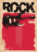 Rock Concert Poster Template With Electric Guitar On Grungy Red Background. Rock Music Flyer Layout. Musical Event Vector Banner On Old Paper Texture.