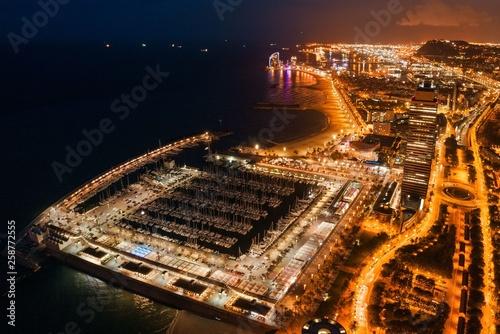 Barcelona Coast aerial night view Wallpaper Mural