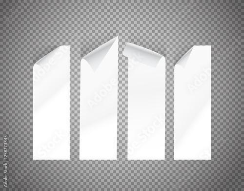 White paper sheets on transparent background vector illustration Canvas-taulu