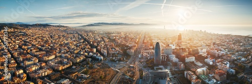 Photo Barcelona skyline aerial view