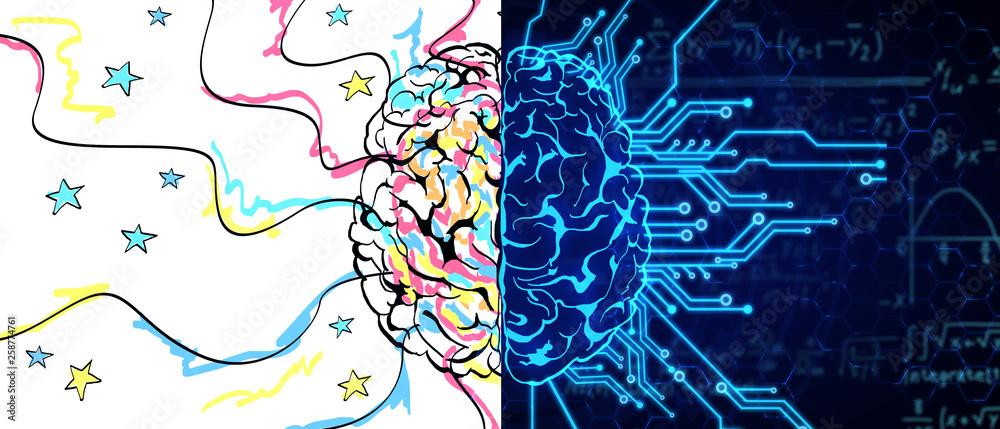 Fototapety, obrazy: AI and creativity concept