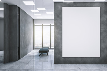 Clean exhibition hall with white billboard