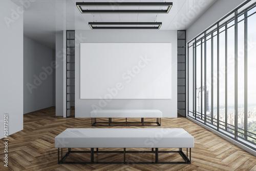 Valokuva  Modern exhibition hall with empty billboard