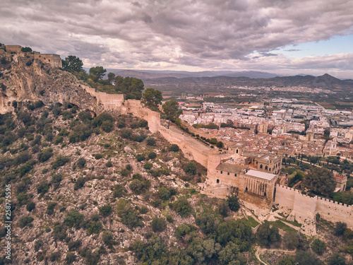Aerial view of the castle of Xativa with the town in the background on a day wit Canvas Print