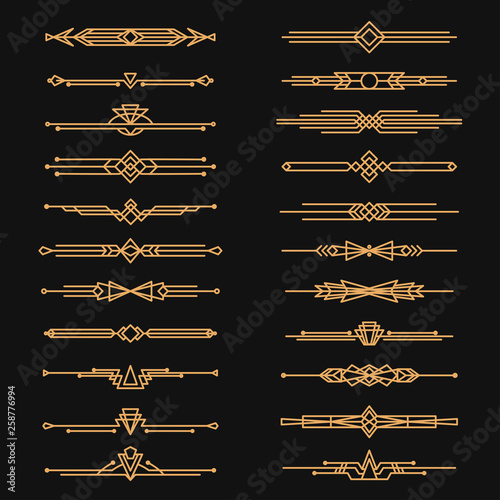 Art deco dividers and decorative golden headers Canvas Print