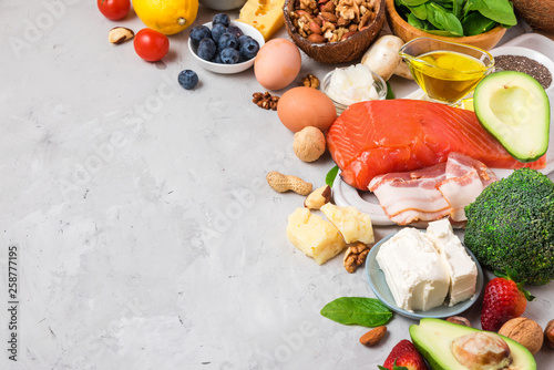 Healthy food low carb keto ketogenic diet. high good fat products Wallpaper Mural