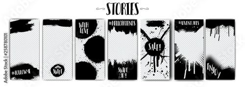 Social network stories templates on Black Friday and more.Spray graffiti, black splashes isolated on transparent background. Mock up stories grunge. fashion, interior design, photographer, blogger ets