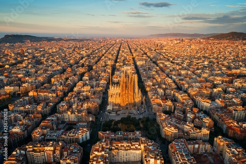 Sagrada Familia aerial view Canvas Print