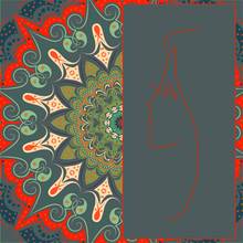 Gray Background And Field For Records With The Contour Of The Profile Of The Girl. Orange And Green Patterns - Mandala - Flower, Fractal With Floral Patterns.