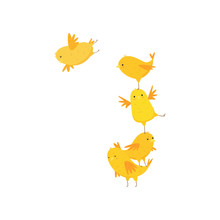 Happy Funny Cute Yellow Chicks Having Fun Isolated On White Background