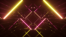 Abstract Flying In Futuristic Corridor Background, Fluorescent Ultraviolet Light, Mirror Lines Laser Neon Lines, Geometric Endless Tunnel, 3d Illustration, Yellow Pink Spectrum