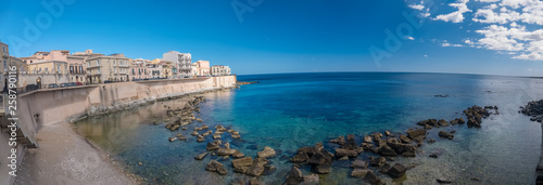 Eastern waterfront of Ortygia Island, Syracuse (Siracusa), a historic city on the island of Sicily, Italy Wallpaper Mural