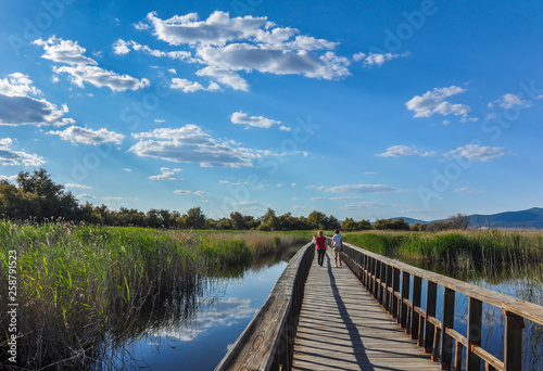 Two women tourists in the Tablas de Daimiel National Park, Ciudad Real, Spain.