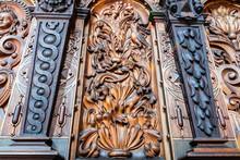 Bernardine Church Interior. Sacristy. Closeup Of  Wood Carvings