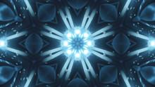 VJ Fractal Blue Kaleidoscopic Background.Background Blue Motion With Fractal Design On Black Background. Disco Spectrum Lights Concert Spot Bulb. Light Tunnel. 3d Illustration