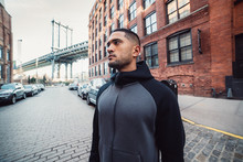 Motivated Athlete Man Is Ready For Sport Workout In New York City Street