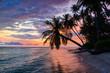 Sunriset dramatic sky on sea, tropical desert beach, no people, stormy clouds, travel destination, Indonesia Banyak Islands Sumatra
