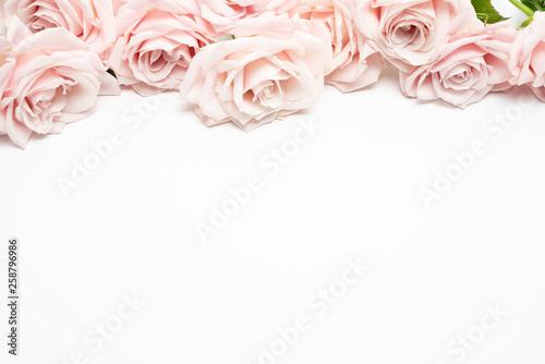 Blush Rose Floral feminine flat lay  background Fototapet