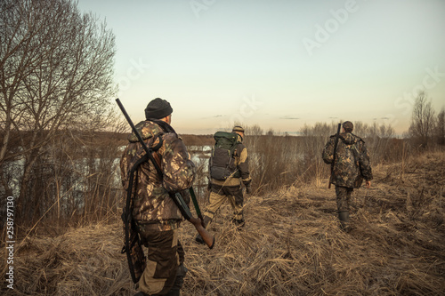 Poster Chasse Hunting scene with group of hunters with hunting ammunition going through rural field during hunting season at sunset