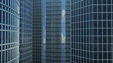 Front View Of Skyscrapers. Skyscrapers Looking Front View. Front View Of Modern Skyscrapers In Business District In Daylight. Business Concept Of Success, 3D Illustration
