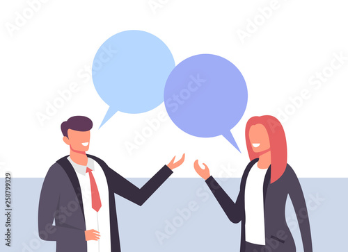 Fototapeta Two business people office workers man woman characters talking. Business life concept. Vector design graphic flat cartoon isolated illustration obraz