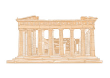 Hand Drawn Color Illustration Of Parthenon.Acropolis, Athens,Greece.