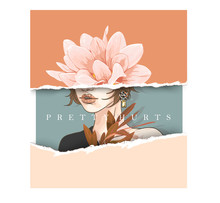 Pretty Hurts Typography Slogan With Girl And Flower