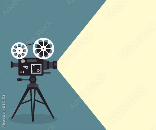 Vintage poster with cinema projector. Vector