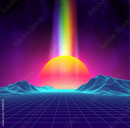 Plakaty retro  synth-wave-retro-city-landscape-background-sunset-3d-landscape-with-rainbow-light-futuristic