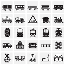 Railroad Related Icons Set On ...