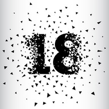 Broken Numbers 18. Explosion Effects. Vector And Illustration.