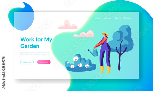 Foto auf AluDibond Turkis Woman Gardener in Hat Watering Bush in Garden Landing Page. Girl Worker in Boot with Water Can Growing Plant and Flora for Landscape in Yard Website or Web Page. Flat Cartoon Vector Illustration