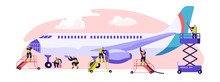 Plane Service Banner. Aircraft Maintenance, Inspection And Repair. Performance Of Task Required To Ensure The Continuing Airworthiness Of Airplane. Flat Cartoon Vector Illustration
