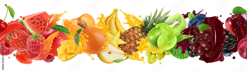 Fototapeta Sweet tropical fruits and mixed berries. Splash of juice. Watermelon, banana, pineapple, strawberry, orange, mango, lime, blueberry, grapes, apple. 3d vector realistic set. High quality 50mb eps