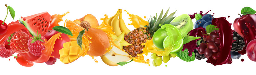 Sweet tropical fruits and mixed berries. Splash of juice. Watermelon, banana, pineapple, strawberry, orange, mango, lime, blueberry, grapes, apple. 3d vector realistic set. High quality 50mb eps