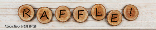 Fotomural Raffle word sign - design for tombolas, lottery, raffles, fetes and shows