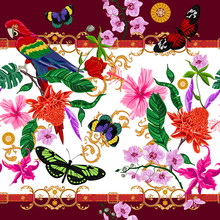 Tropical Seamless Pattern With Flowers, Butterflies, Parrot And Baroque Belts. Vector Floral Patch For Print, Fabric, Scarf