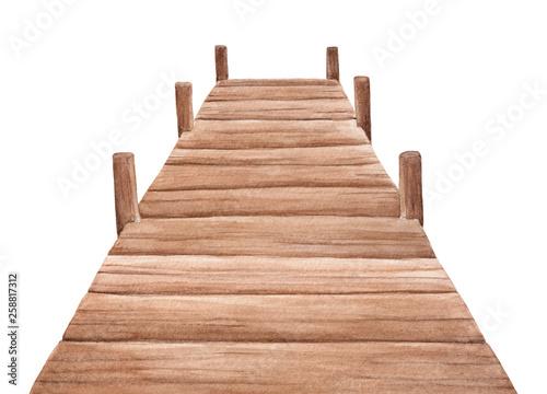 Photo Empty wooden pier watercolor illustration