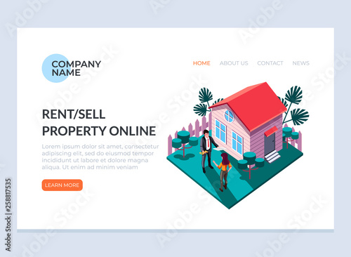Real Estate Sell And Rent Property House Concept Vector Design Graphic Flat Cartoon Web Page Loading Banner Illustration Buy This Stock Vector And Explore Similar Vectors At Adobe Stock Adobe Stock