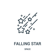 Falling Star Icon Vector From Space Collection. Thin Line Falling Star Outline Icon Vector Illustration.
