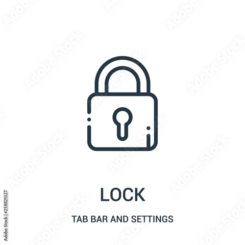 lock icon vector from tab bar and settings collection. Thin line lock outline icon vector illustration. Wall mural