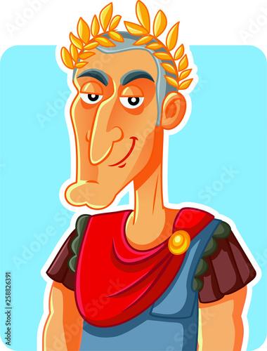 Cuadros en Lienzo Julius Caesar Roman Emperor  Vector Caricature